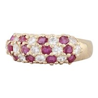 1.04ctw Pave Ruby CZ Cluster Ring 14k Yellow Gold Size 6.25 Stackable