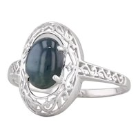 Star Sapphire Solitaire Ring 14k White Gold Size 10.25 Ornate Scrollwork