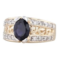 1.74ctw Blue Iolite Diamond Ring 14k Yellow Gold Size 7 Oval Solitaire