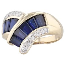 1.55ctw Synthetic Sapphire Diamond Bypass Ring 14k Yellow Gold Size 6.25