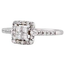 0.40ctw Diamond Halo Engagement Ring 14k White Gold Size 6