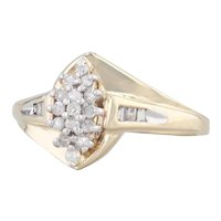 0.24ctw Diamond Cluster Ring 10k Yellow Gold Size 6.5 Bypass Engagement