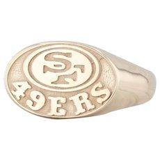 San Francisco 49ers Ring 10k Yellow Gold Size 8.75 NFL Football Souvenir