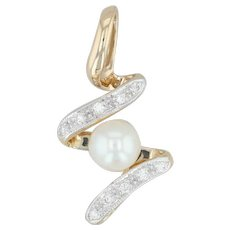 Diamond & Cultured Pearl Swirl Pendant - 18k Yellow Gold Drop Women's High Carat