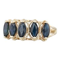 1.70ctw Blue Sapphire 5-Stone Ring 10k Yellow Gold Marquise Brilliant