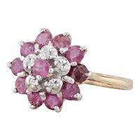 1ctw Ruby Diamond Halo Flower Ring 10k Yellow Gold Size 6 July Birthstone