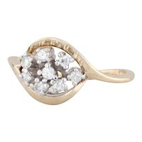 Diamond Cluster Ring 14k Yellow Gold Size 6.25 Bypass