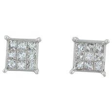 1ctw Diamond Stud Earrings - 14k White Gold Princess Illusion Cluster Pierced