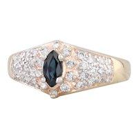 0.86ctw Sapphire Diamond Halo Ring 14k Yellow Gold Size 7.5 Engagement
