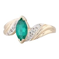 0.72ctw Synthetic Emerald Diamond Bypass Ring 14k Yellow Gold Size 7 Marquise