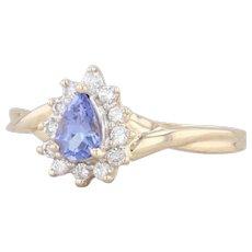 0.69ctw Tanzanite Diamond Halo Ring 14k Yellow Gold Sz 10.25 Engagement Teardrop