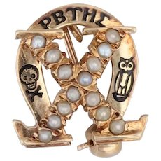 Chi Omega Sorority Badge 14k Yellow Gold Pearls Skull Owl Pin Vintage Greek