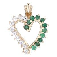 1.60ctw Emerald White Sapphire Open Heart Pendant 10k Yellow Gold