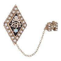 Zeta Beta Tau fraternity Badge 10k Gold Pearls Skull Star Vintage Pin