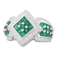 1.25ctw Emerald Diamond Halo Ring 14k White Gold Size 6.75 Cocktail