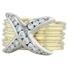 .50ctw Diamond X Ring - 18k Yellow White Gold Size 5.75 Cocktail Women's