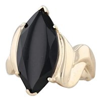 Onyx Marquise Ring 10k Yellow Gold Size 7 Signet Statement