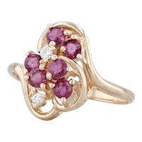 0.75ctw Ruby Diamond Ring 14k Yellow Gold Size 6.75 Cluster Bypass