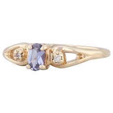 0.26ctw Synthetic Color Change Sapphire Diamond Ring 10k Yellow Gold Size 7