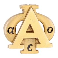 Alpha Phi Sorority Badge 14k Yellow Gold Greek Society Member Pin