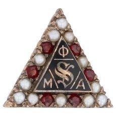 Phi Mu Alpha Badge 10k Yellow Gold Garnets Pearls Music Fraternity Sinfonia Pin