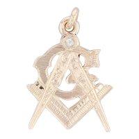 Vintage Diamond Masonic Fob 10k Yellow Gold Ornate Square Compass Pendant