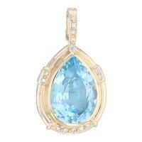 14.60ctw Blue Topaz Diamond Teardrop Enhancer Pendant 14k Gold Pear Solitaire