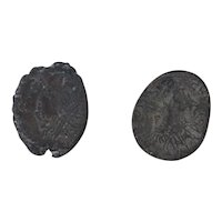 Ancient Roman Radiate Coins Figural Artifacts Mixed Lot of 2 B12317