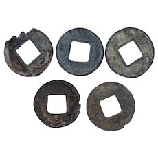 Ancient Chinese Coins Mixed Lot 5 Han Dynasty 1st Century-589 AD Wu Ch'u Scjhoth