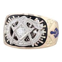 Diamond Masonic Ring 10k 14k Gold Enamel Size 9.75 Blue Lodge Insignia