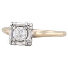 0.25ct Diamond Engagement Ring 14k White Yellow Gold Size 6 Round Solitaire