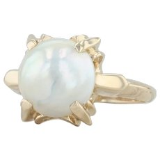 Cultured Mabe Pearl Ring - 14k Yellow Gold Size 4 Solitaire
