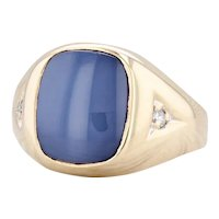 Synthetic Star Sapphire Diamond Ring 10k Yellow Gold Size 8.75 Signet