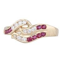 0.49ctw Ruby Diamond Bypass Ring 18k Yellow Gold Size 6.5