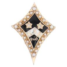Kappa Alpha Theta Badge 14k Gold Pearls Diamonds Vintage 1949 Fraternity Pin
