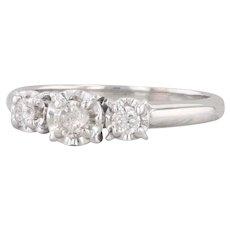 0.23ctw Diamond 3-Stone Ring 10k White Gold Size 6.75 Vintage Engagement