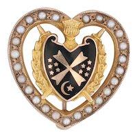 Demolay Sweetheart Pin 10k Gold Vintage Masonic Pearl Heart Black Enamel