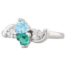 Diamond Topaz Synthetic Emerald Ring 14k White Gold Size 6 Bypass