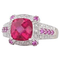 3.80ctw Synthetic Ruby Diamond Halo Ring 14k White Gold Size 7.25