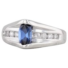 0.98ctw Synthetic Blue Sapphire Diamond Ring 14k White Gold Size 4.5 Engagement