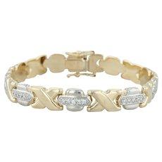 ".66ctw Diamond XO Bracelet 7.5"" - 14k Yellow & White Gold 7.9mm Italian"