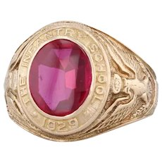 The Infantry School Class 1929 Ring 10k Gold Synthetic Ruby Eagle Crest Sz 10.25