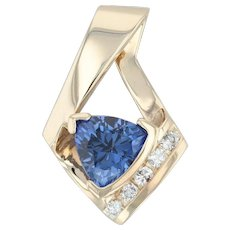 2.18ctw Blue Synthetic Sapphire & Diamond Pendant - 14k Yellow Gold Drop