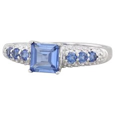 Synthetic Blue Sapphire Diamond Ring 10k White Gold Size 7 Engagement