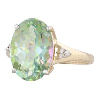 7.24ctw Mystic Topaz Diamond Ring 14k Yellow Gold Size 7.25 Oval Solitaire