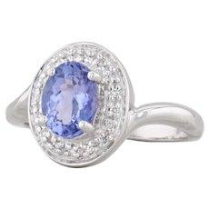 1.37ctw Tanzanite Diamond Halo Ring 18k White Gold Size 7 Engagement