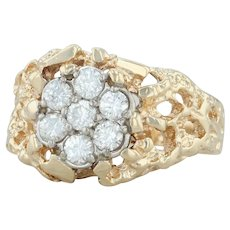.80ctw Diamond Cluster Ring - 14k Yellow White Gold Sz 12 Men's Nugget Statement