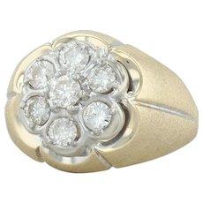 1ctw Diamond Cluster Ring - 14k Yellow White Gold Size 9.5 Halo Vintage Men's