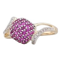 0.88ctw Pink Sapphire Diamond Cluster Ring 14k Yellow Gold Size 8 Bypass Band