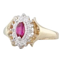 0.34ct Marquise Synthetic Ruby Diamond Halo Ring 10k Yellow Gold Size 7.25